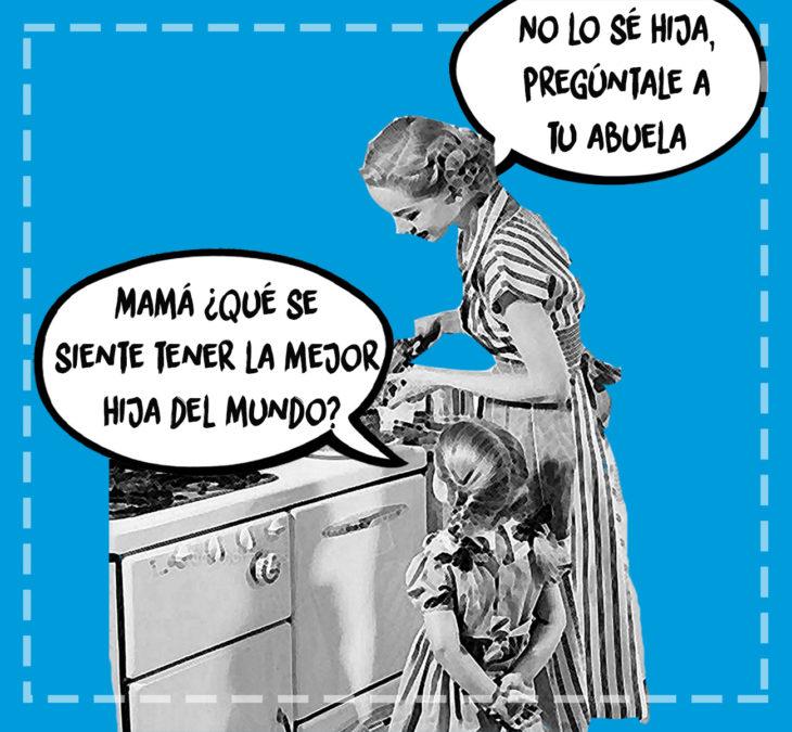 ilustración antigua de mujer y su hija en la cocina