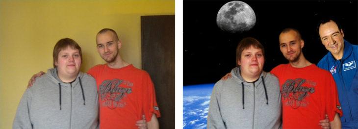 chicos editados en el espacio sideral