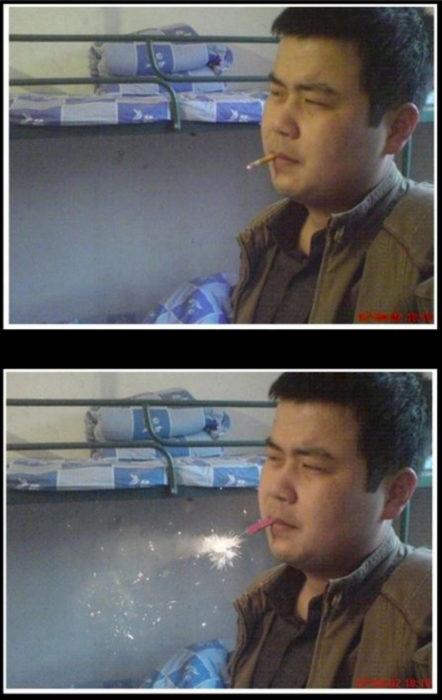 hombre fumando editado como si tuviera un juego pirotécnico en los labios