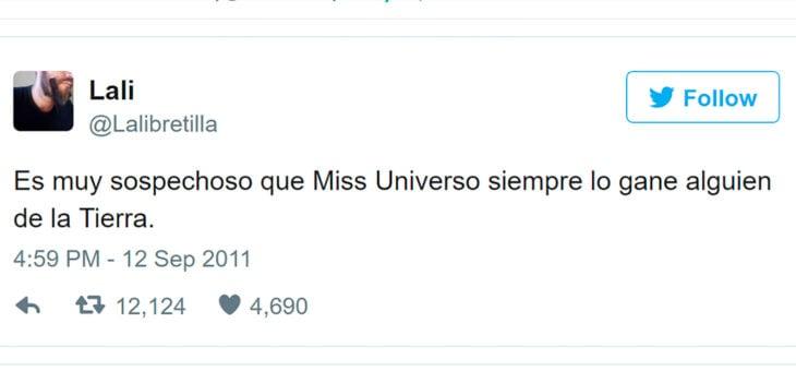 tuit gracioso de miss universo