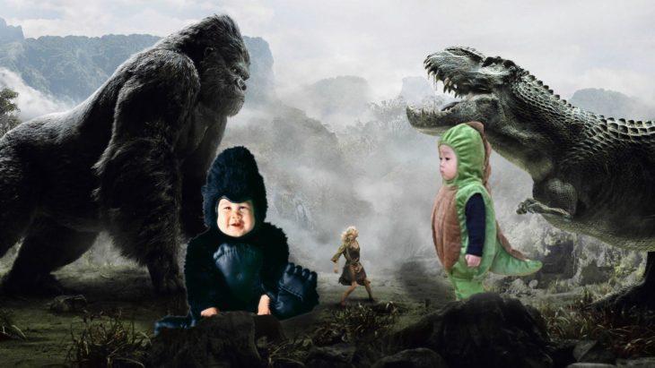 King kong y niño dinosaurio
