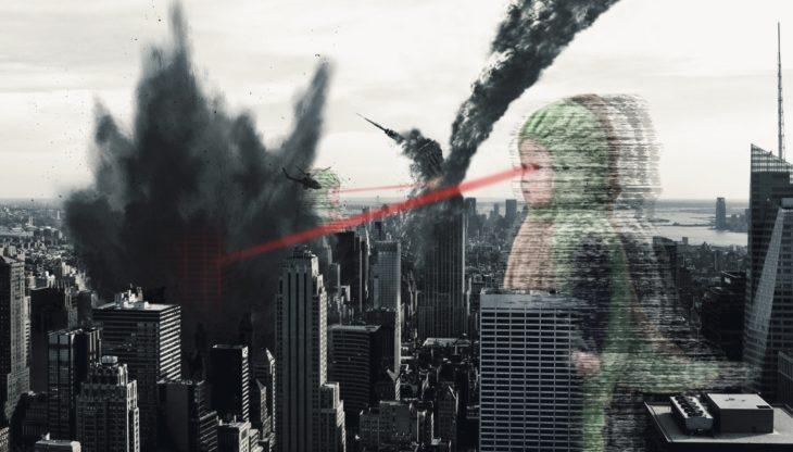 Niño dinosaurio rayo láser