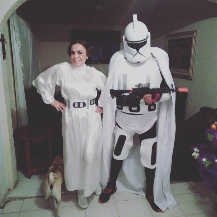 padres vestidos de star wars