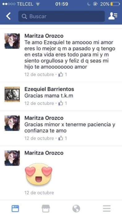 comentarios entre madre e hijo en facebook