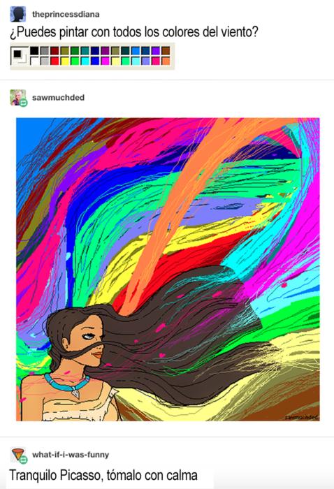chiste sobre pocahontas y colores en el viento