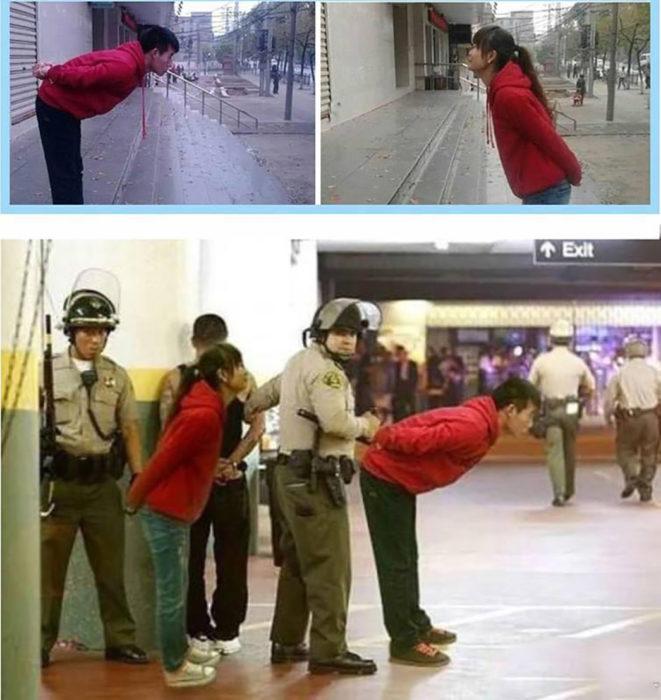 dos chicos editados en la misma foto como si estuvieran siendo arrestados