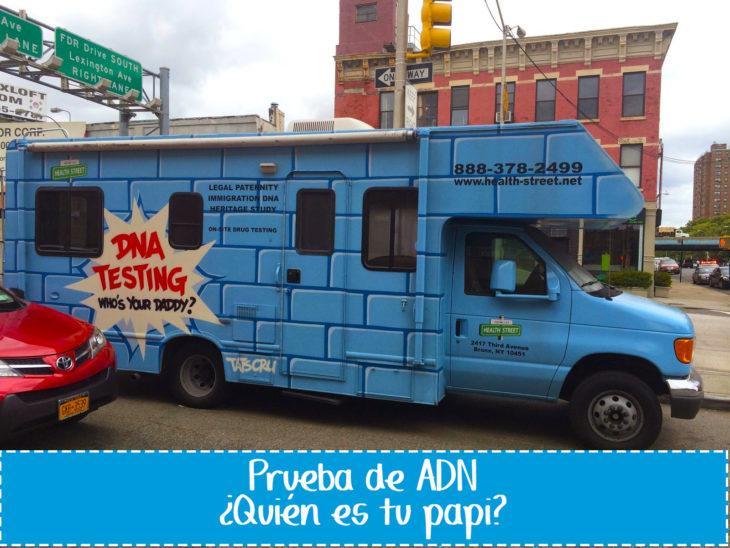 cartel gracioso en vehículo sobre pruebas de adn