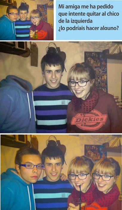 foto de tres amigos editada, en una le quitan la cara a un chico, y en la otra duplican la cabeza de la chica