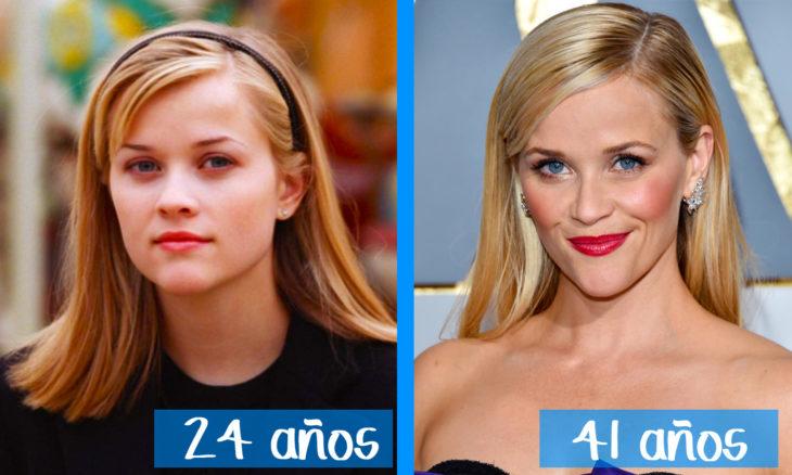 Reese Witherspooon en su juventud y ahora
