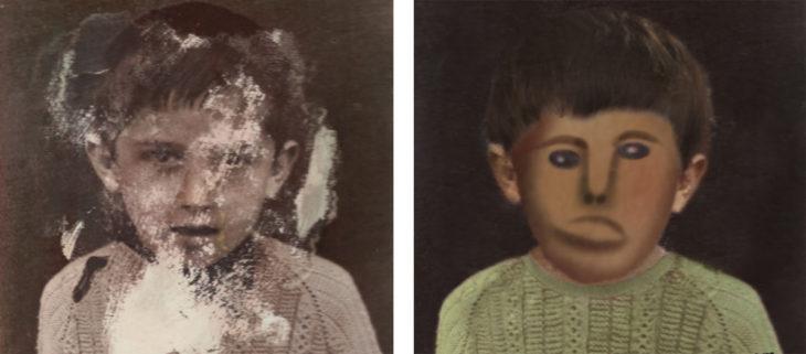 foto antigua de un niño restaurada de forma graciosa