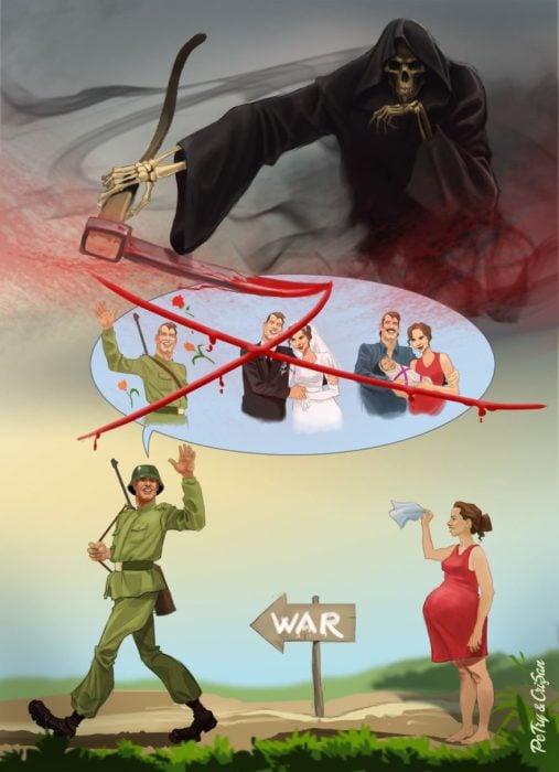 caricatura sobre lo que les espera a los soldados