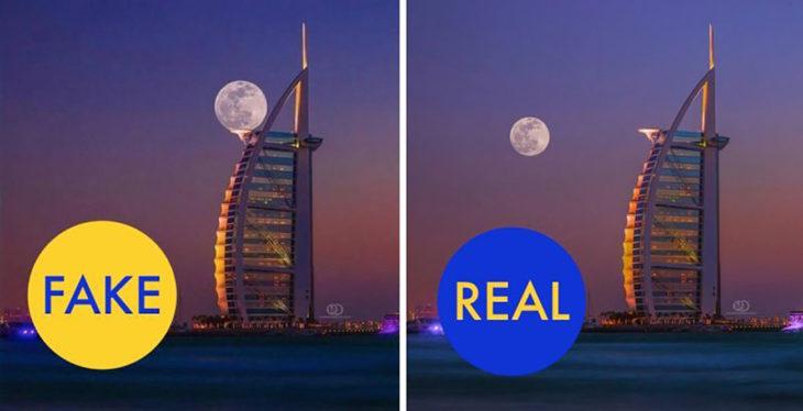 super luna foto falsa en dubai