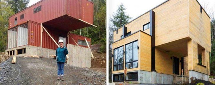 casa construida con vagones de tren