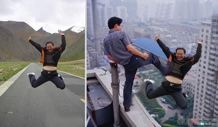 foto editada de broma de chino que es aventado de un edificio