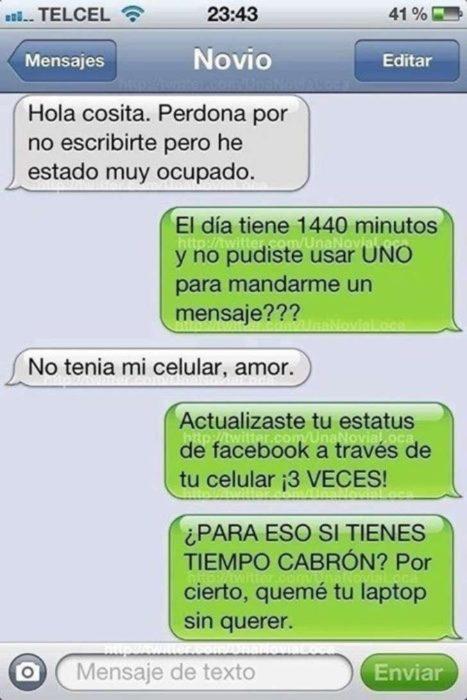 conversación de mensjae de texto con una novia celosa