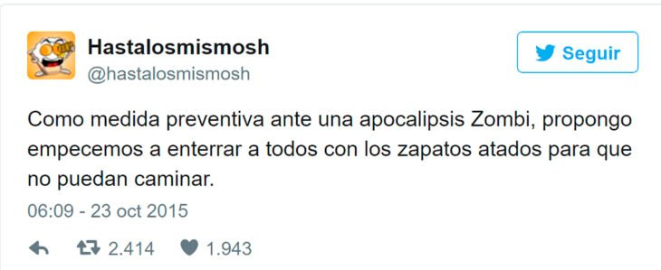 tuit sobre apocalipsis zombie