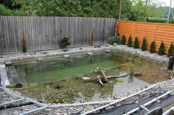 patio trasero con estanque en construcción