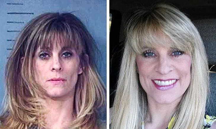 izquierda mujer en la cparcel derecha misma mujer con el cabello pintado rubio y feliz