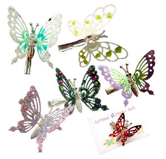 Mariposas metal 90s accesorio colores pelo