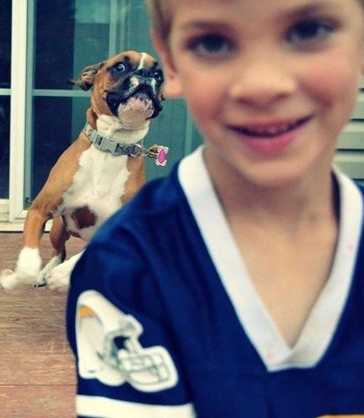 foto de niño atrás sale perro corriendo