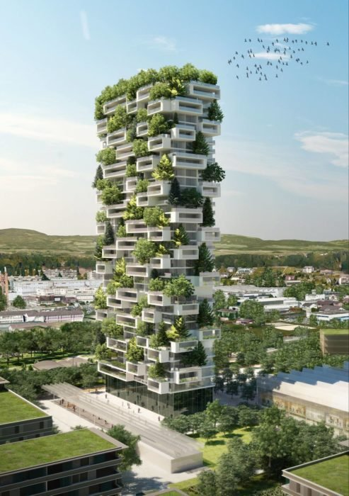 proyecto torre alta con arboles