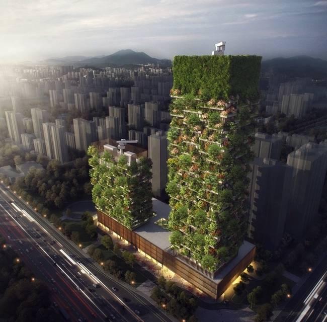 vista aérea de edificios verdes