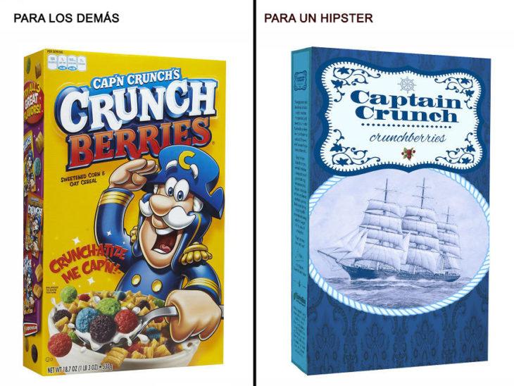 Comida reenvasada hipster capitan crunch