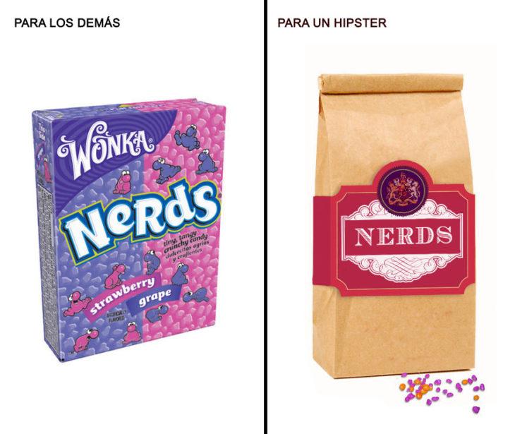 Comida reenvasada hipster nerds