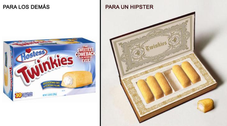 Comida reenvasada hipster twinky