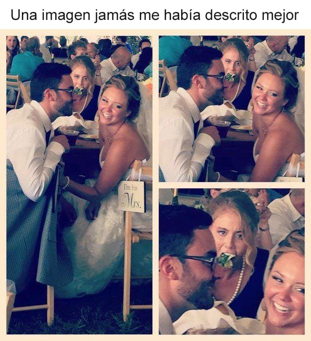 foto de chica comiendo en una boda