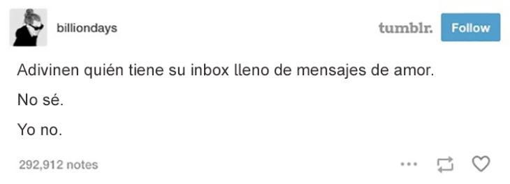 inbox lleno de mensajes de amor