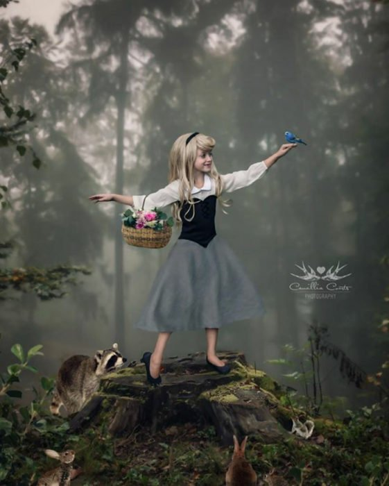 aurora pájaro bosque Cosplay Photoshop Disney Niña
