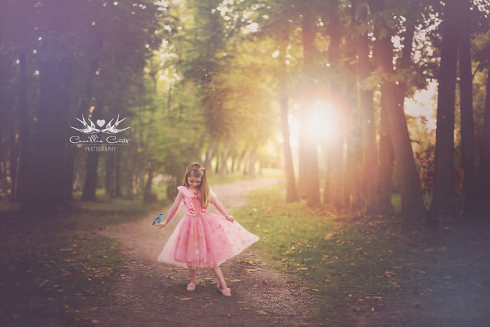 Cosplay Photoshop Disney Niña Bosque aurora bella durmiente