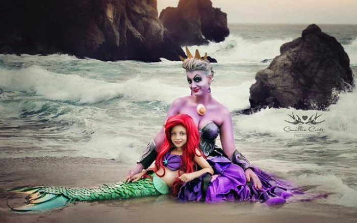 úrsula y sirenita mar Cosplay Photoshop Disney Niña