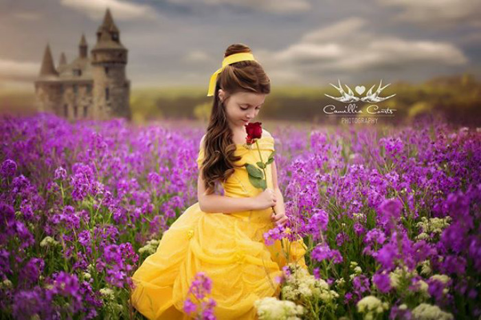 campo flores bella y bestia Cosplay Photoshop Disney Niña