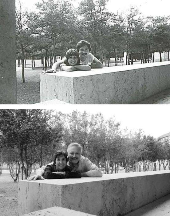 Fotos antes-después - pareja abrazada en el parque