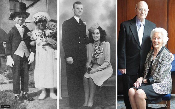 Fotos antes-después - pareja de niños, en su boda y 70 años después