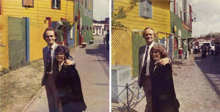 Fotos antes-después - pareja en el mismo lugar que antes
