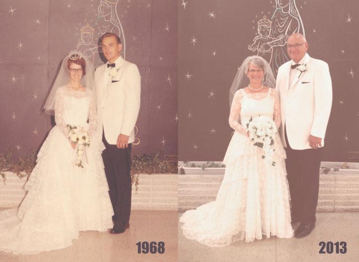 Fotos antes-después - pareja el día de su boda