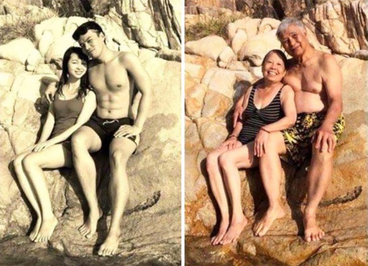 Fotos antes-después - pareja sentados en roca en la playa