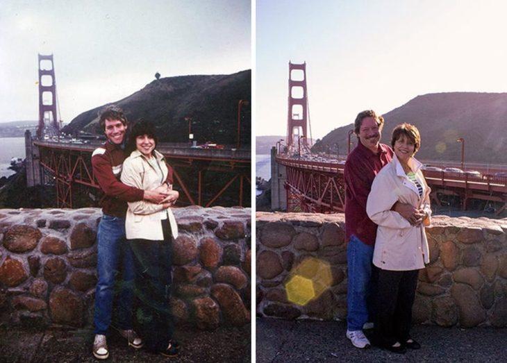 Fotos antes-después - pareja abrazados frente a puente