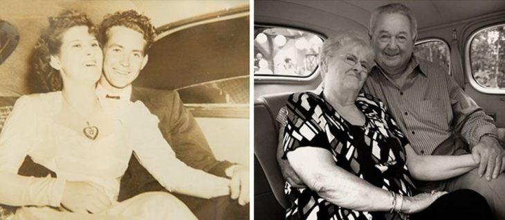 Fotos antes-después - pareja abrazados en el carro