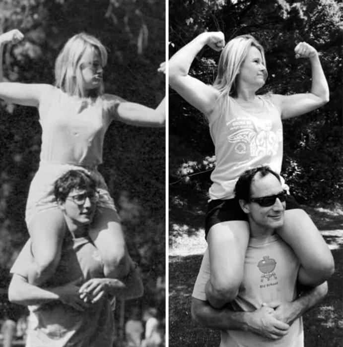 Fotos antes-después - mujer sobre su esposo