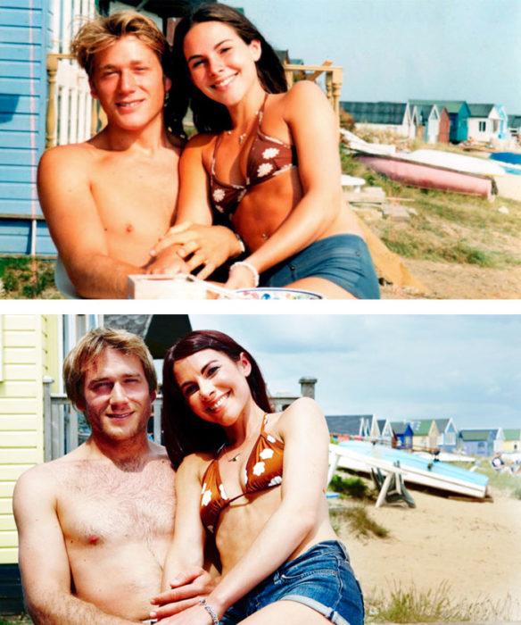 Fotos antes-después - pareja en la playa y 11 años después