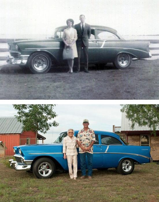Fotos antes-después - pareja foto con carro clasico