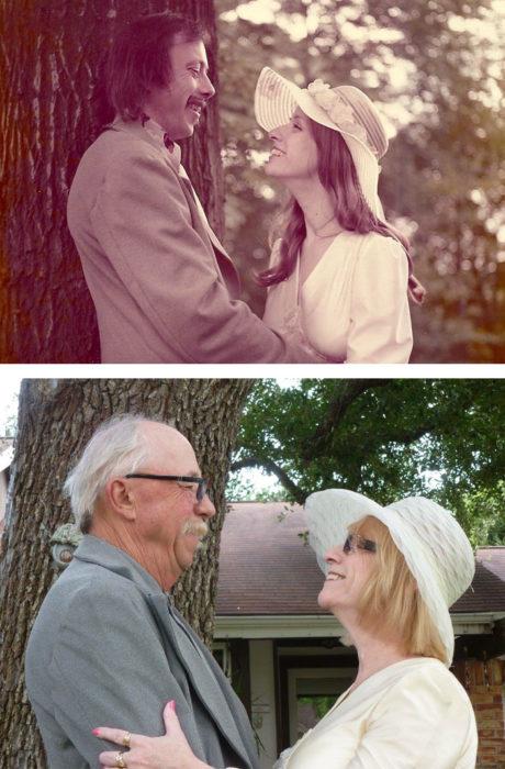 Fotos antes-después - pareja enamorada
