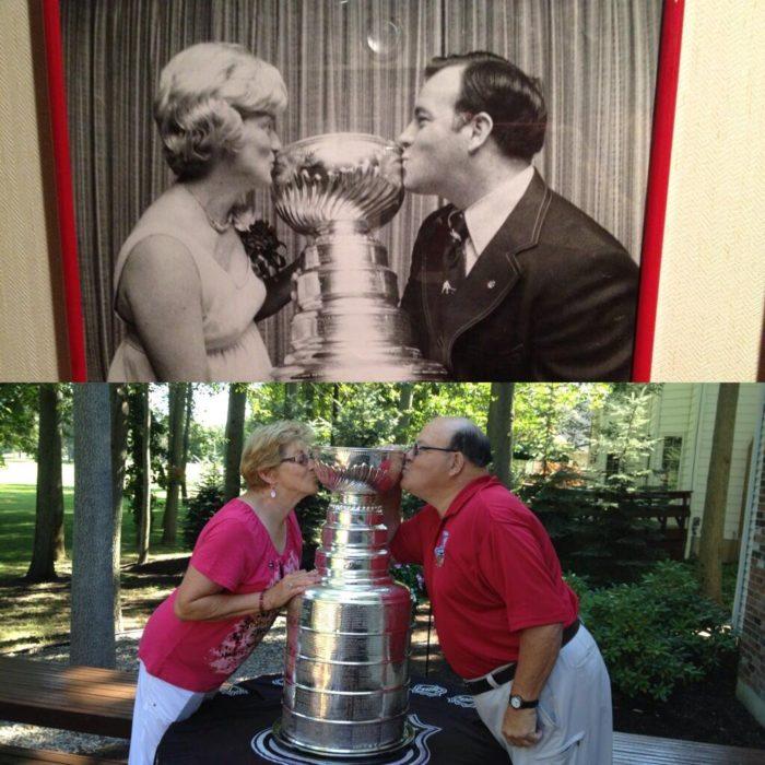 Fotos antes-después - pareja besando copa de premio