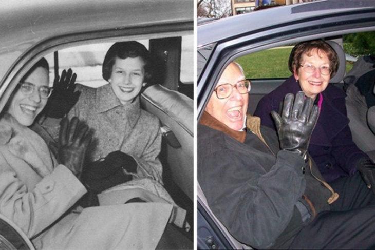 Fotos antes-después - pareja sonriendo desde el carro