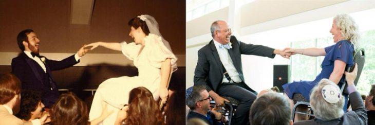 Fotos antes-después - pareja en boda sobre sillas