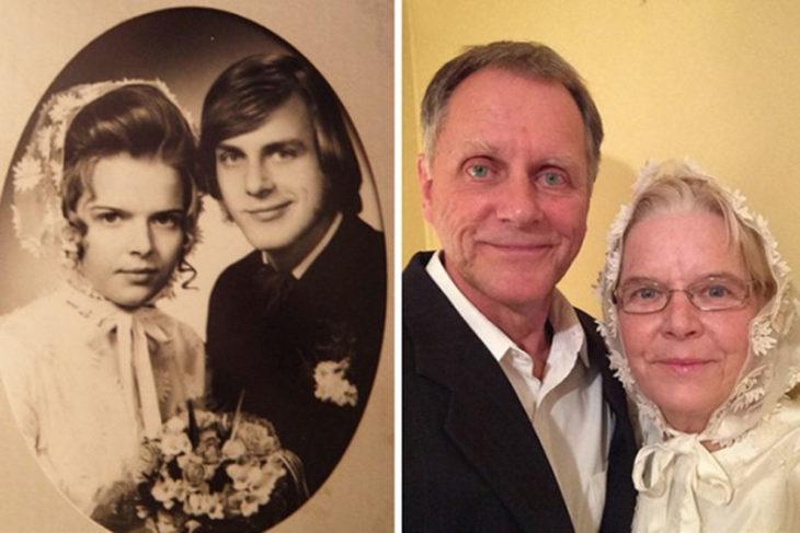 Fotos antes-después - pareja el dia de su boda y varios años después